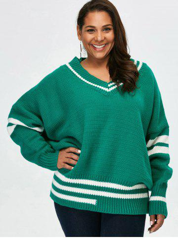 Hot Plus Size V Neck Cricket Striped Sweater - 5XL GREEN Mobile