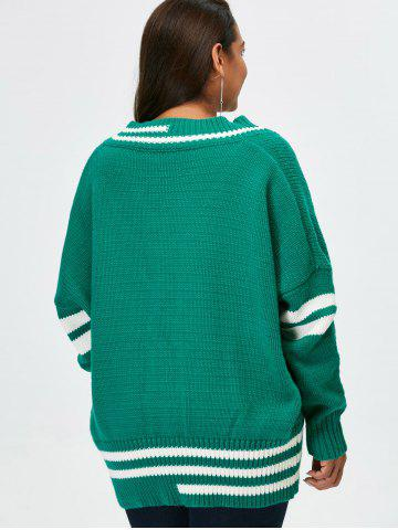 Discount Plus Size V Neck Cricket Striped Sweater - 5XL GREEN Mobile