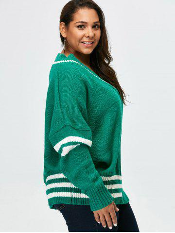 Best Plus Size V Neck Cricket Striped Sweater - 5XL GREEN Mobile