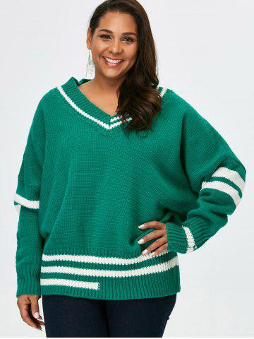 Plus Size V Neck Cricket Striped Sweater - Green - 2xl