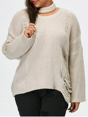 Hot Plus Size Pullover Ripped Sweater LIGHT GRAY 5XL