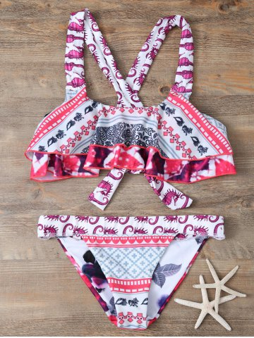 Store Straps Patterned Criss Cross Bikini Set COLORMIX L