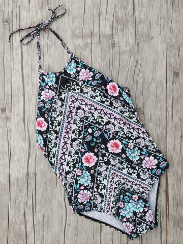 Discount Ethnic Floral Halter One Piece Swimwear