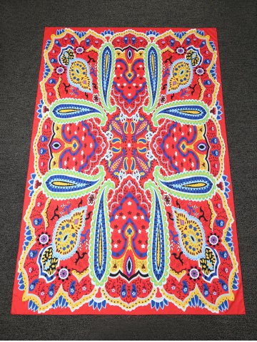 Dashiki Paisley Printed Long Rectangle Beach Throw - Red - One Size