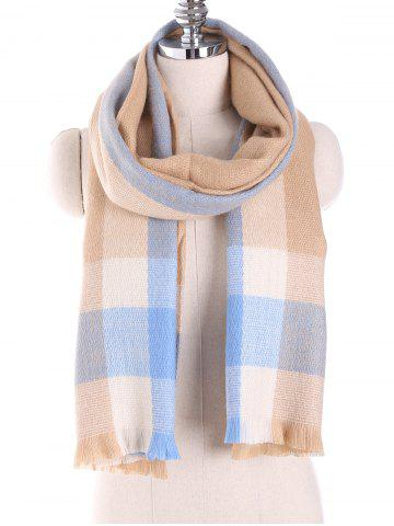 Fashion Oblong Plaid Pattern Long Wrap Scarf with Fringed Edge