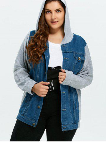 Shops Plus Size Denim Trim Hooded Jacket