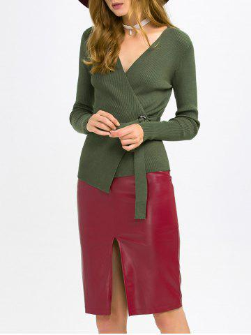Unique Surplice Knitwear and PU Leather Skirt