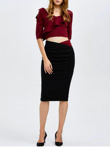 New Cold Shoulder Flounced Blouse and Pencil Skirt