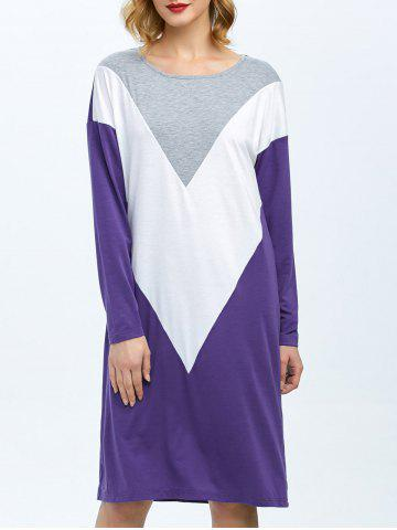 Online Drop Shoulder Color Block Dress