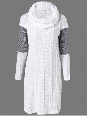 Plaid Cowl Neck Jumper Dress - White - Xl