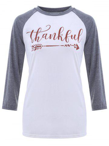 Discount Crew Neck Thankful Graphic Baseball T-Shirt