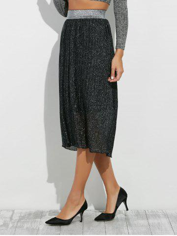 Affordable Glitter Midi Pleated Skirt