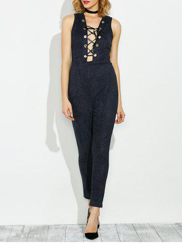 Best Sleeveless Lace Up Faux Suede Jumpsuit