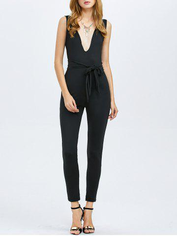 Outfit Sleeveless Plunging Neck Tie Waist Jumpsuit