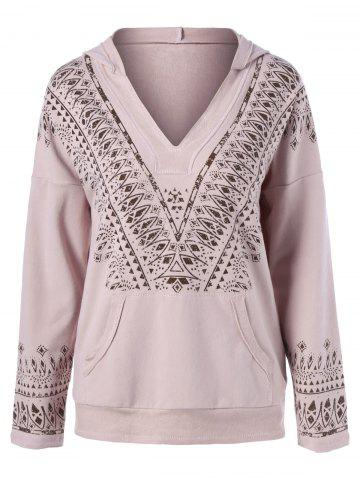 Fashion Tribal Print Drop Shoulder Hoodie