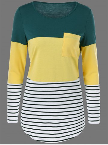 Color Block Striped Longline T-Shirt - Green And Yellow - M