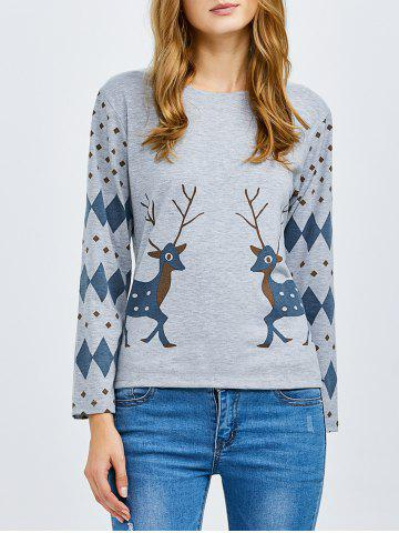 Affordable Deer Print Long Sleeve Tee GRAY 2XL