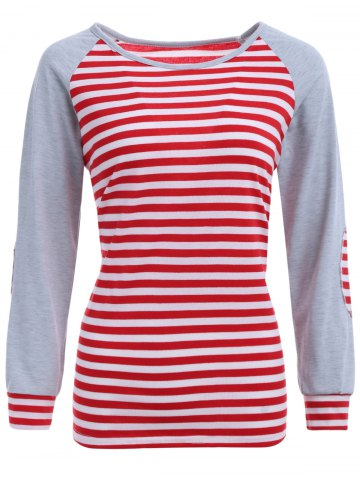 Shop Stripe Elbow Patch Long Sleeve Baseball T-Shirt RED XL