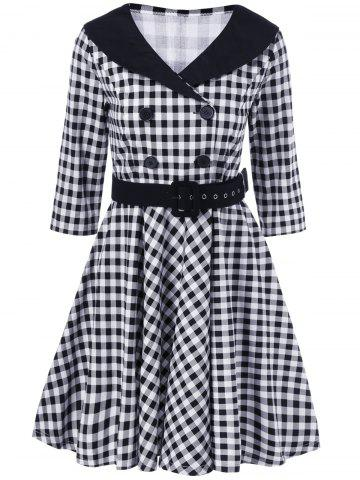 Latest Plaid Belted Vintage Swing Dress
