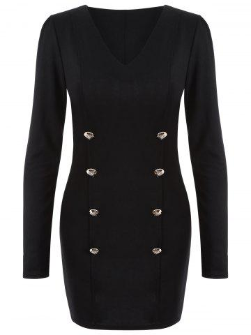 Fashion Long Sleeve Double Breasted Bodycon Dress