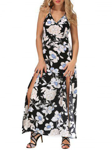 Cheap Backless Maxi Floral Slip Beach Dress with Slit BLACK XL