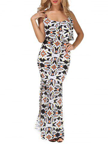 Chic Printed Slit Long Cami Bodycon Overlay Dress WHITE XL