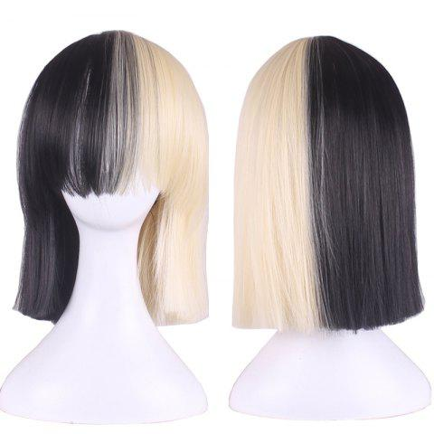 Unique Short Full Bang Double Color Straight Bobs Sia Cosplay Synthetic Wig - BLACK AND GOLDEN  Mobile