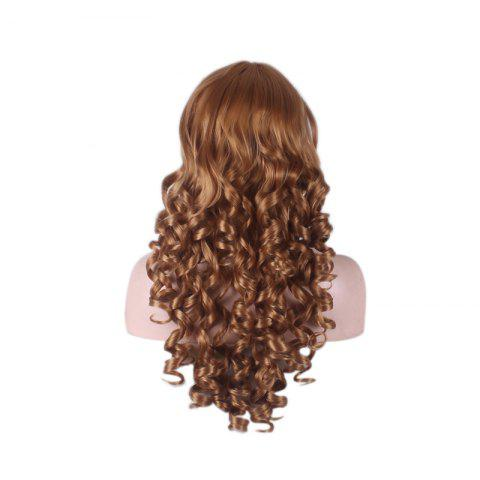 Unique Long Side Bang Curly Cosplay Synthetic Wig - BROWN  Mobile