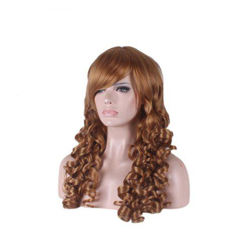 Shop Long Side Bang Curly Cosplay Synthetic Wig - BROWN  Mobile