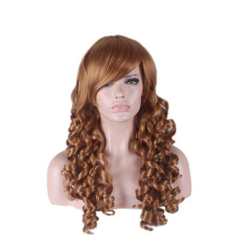 Store Long Side Bang Curly Cosplay Synthetic Wig - BROWN  Mobile