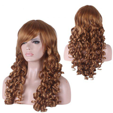 New Long Side Bang Curly Cosplay Synthetic Wig - BROWN  Mobile