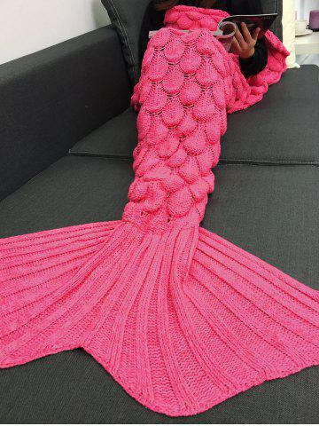 Crochet Knitting Fish Scales Design Mermaid Tail Style Blanket - Rose Red - M
