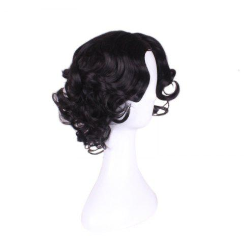 Online Short Centre Parting Wavy Snow White Cosplay Synthetic Wig - BLACK  Mobile