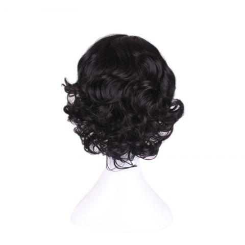 Discount Short Centre Parting Wavy Snow White Cosplay Synthetic Wig - BLACK  Mobile