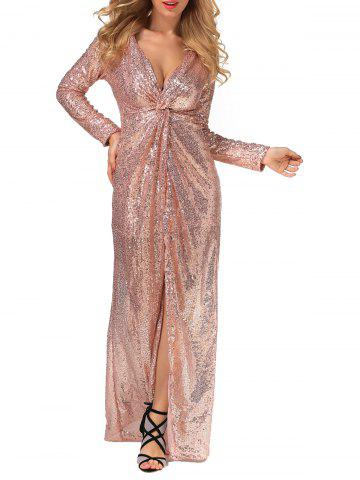 Best Long Prom Sequin Knot Dress with Sleeves CHAMPAGNE GOLD XL