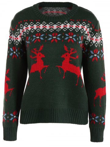 Unique Crew Collar Christmas Sweater With Reindeer Graphic
