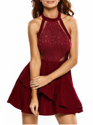 Hot Lace Panel Flounce Mini Skater Cocktail Dress RED L
