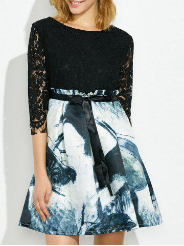 Cheap Lace Fit and Flare Dress with Chinese Painting
