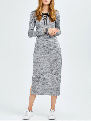 Cheap Lace Up Side Cut Hooded Dress