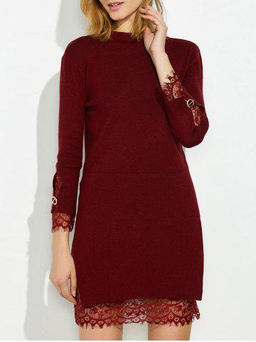 Unique Mock Neck Knitted Layered Sweater Dress With Lace Trim