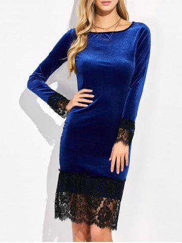Shop Lace Trim Velvet Long Sleeve Bodycon Dress DEEP BLUE XL