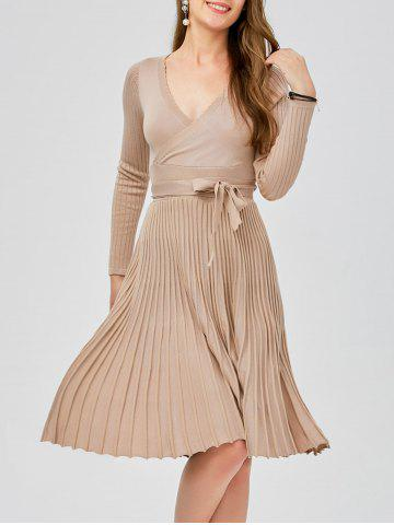Plunging Neck Long Sleeve Jersey Skater Sweater Dress - Apricot - One Size