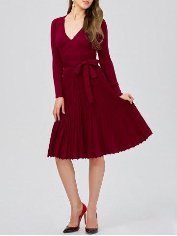 Plunging Neck Long Sleeve Jersey Skater Sweater Dress - Burgundy - One Size