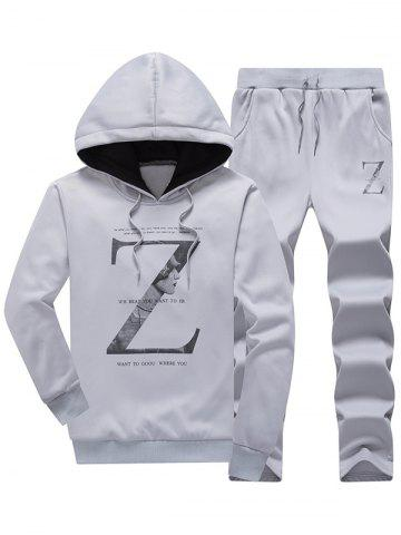 Letter Pullover Hoodie and Drawstring Pants Twinset - Light Gray - M