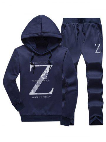 Letter Pullover Hoodie and Drawstring Pants Twinset - Deep Blue - M