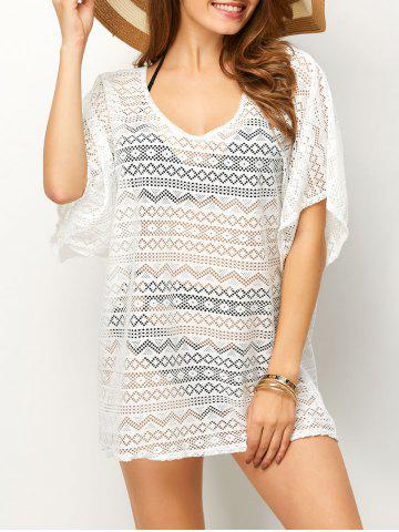Affordable Backless Mesh Beach Tunic Cover Up WHITE ONE SIZE