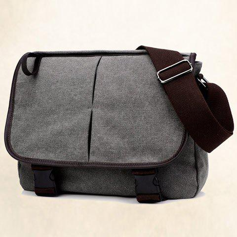 Outfits Zipper Canvas PU Leather Insert Messenger Bag - GRAY  Mobile