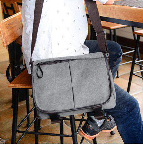 Outfit Zipper Canvas PU Leather Insert Messenger Bag - GRAY  Mobile