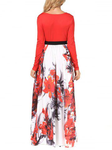 Cheap V Neck Long Sleeve Floral Maxi Dress - XL RED Mobile