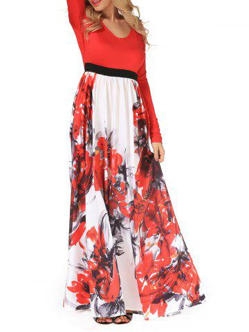 Fashion V Neck Long Sleeve Floral Maxi Dress - XL RED Mobile